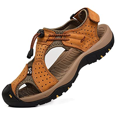 Men's Closed Toe Walking Fastening Trekking Sport Shoes Leather Sandals SN1505(Navy Blueus11.5)
