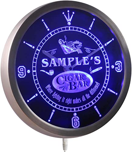 ADVPRO ncqz-tm Name Personalized Custom Cigar Pipe Bar Lounge Neon Sign LED Wall Clock