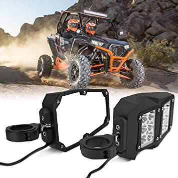 Z8 UTV Side Rear View mirrors with Lights,1.75-2 Inch Roll Bar Cage Offroad Side Rear View Mirrors With Clear Lens LED Spot Light Compatible With Polaris RZR XP 1000 RZR 900
