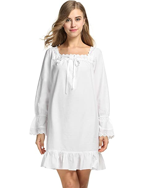 a004d0a2e5 sholdnut White Cotton Nightgowns Long Sleepshirts Dress Sleepwear for Women  Nightgowns   Sleepshirts at Amazon Women s Clothing store