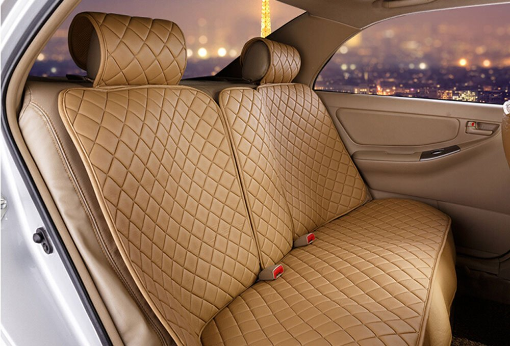 18pc superior quality luxury Beige Seat Covers imitation leather Seating Universal Full Set car seat cover Easy to install Fit Most Car by Maimai88 (Image #3)