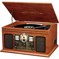Innovative Technology VTA-200B MH Victrola Nostalgic Classic Wood 6-in-1 Bluetooth Turntable Entertainment Center…
