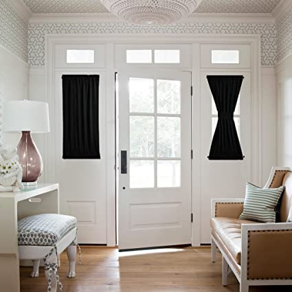 NICETOWN Blackout Sidelight Panel Curtain   Thermal Insulated Blackout Half  Window French Door Curtain (1
