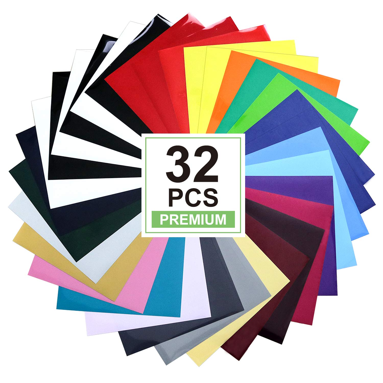 HTV Heat Transfer Vinyl Bundle: 32 Pack Assorted Colors 12''x10'' Sheets, CAREGY Iron On Vinyl by CAREGY