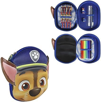Takestop® - Estuche de paw patrol para perros, con cremallera 3D, con compartimentos y accesorios, 8 lápices y 8 rotuladores Giotto, para la escuela y los niños: Amazon.es: Oficina y papelería