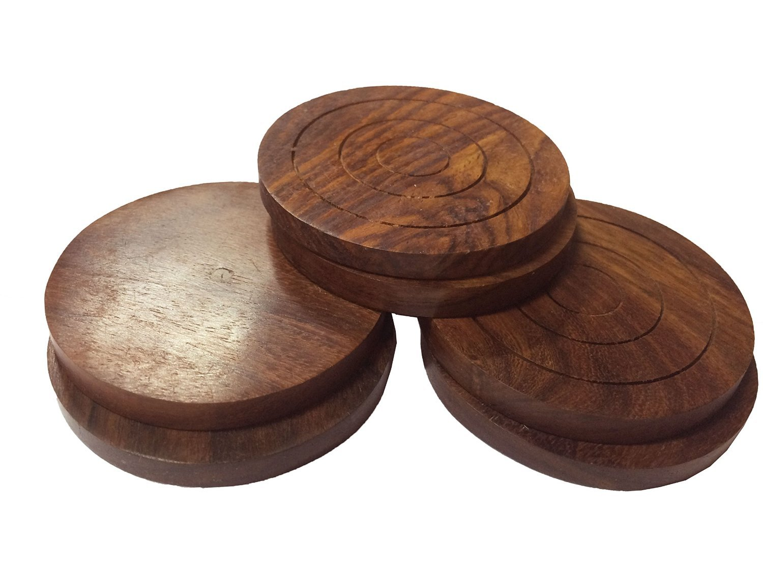 Craftgasmic Wood Coaster Set with 6 Round Handmade Table Duck Shaped Coasters and Decorative Wooden Holder for Tea Cups Coffee Mugs Beer Cans Bar Tumblers and Water Glasses,