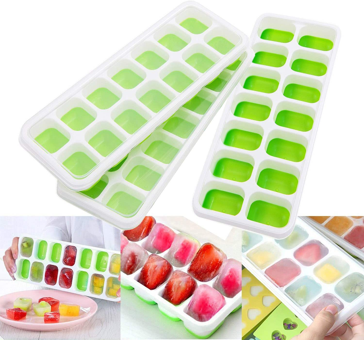 Ice Cube Trays Silicone with Lid, Silicone Ice Cube Tray with 42 Ice Cube Molds for Home Ice Cream Wine Fruits, Stackable Reusable and BPA Free, Pack of 3