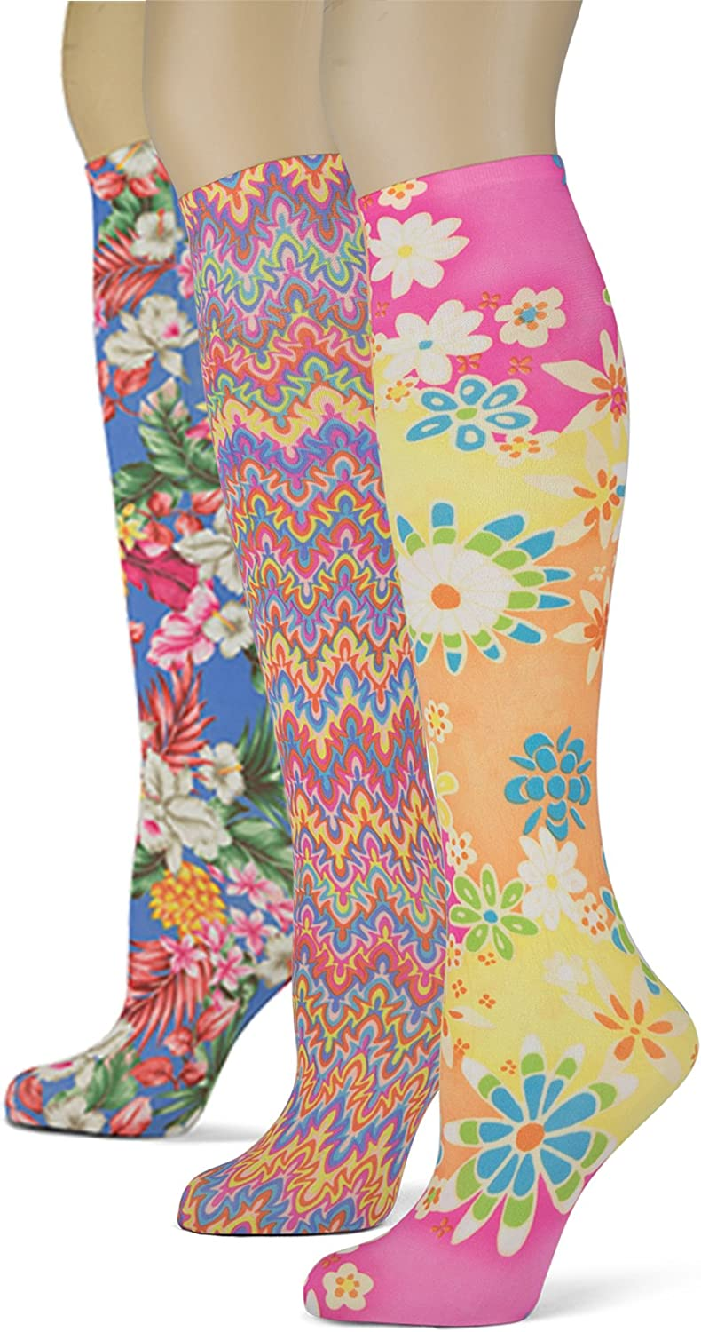 Sox Trot Women's 3 Pairs Knee High Trouser Socks, Classy and Colorful Printed Patterns, Silky Smooth Material