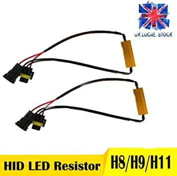 Pair H4 LED Load Resistor Kit Wiring Harness Anti-flicker Blinking Canceller Error Free 50W 6ohm Adapter