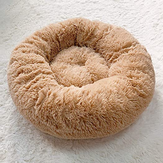 Round Donut Cat Bed, Winter Warm Sleeping Bag Long Plush Soft Pet Bed Calming House Anti-Slip Water-Resistant Bottom Super Soft Durable Fabric Pet Supplies