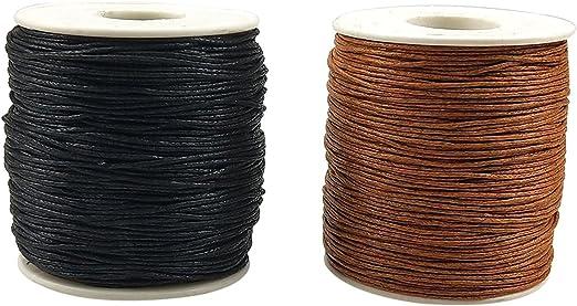 2 rollos de hilo de algodón encerado de 1 mm para hacer bisutería, manualidades: Amazon.es: Hogar