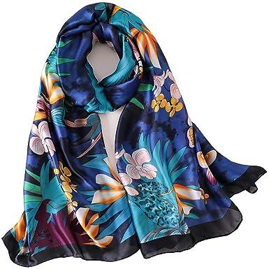 42be5b8ff346 LD Foulard Femme Soie Polyester Écharpe Tissu Satiné Doux Art à la Mode  Etole Châle en Hiver 180   90 cm (Bleu)  Amazon.fr  Vêtements et accessoires