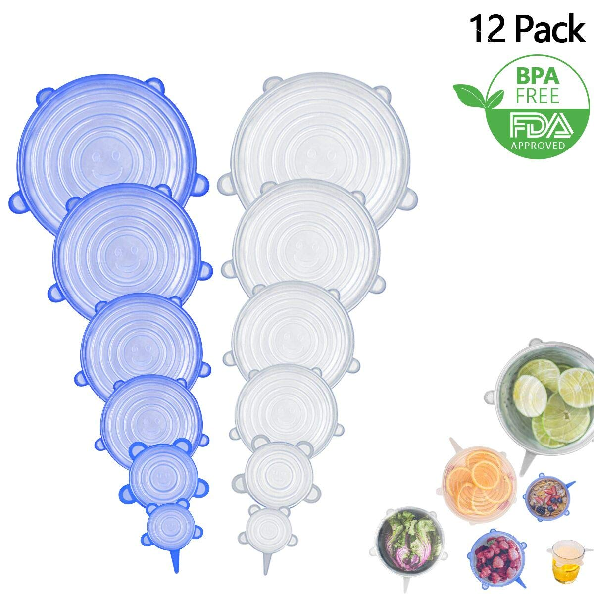 12 Pack Silicone Stretch Lids, rabofly Various Size Food Storage Covers Reusable Durable and Expandable for Keeping Food Fresh, Dishwasher and Refrigerator Safe