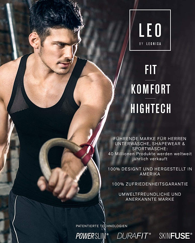 LEO Mens Tummy Control Firm Compression Tank Shapewear