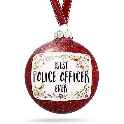 christmas decoration happy floral border police officer ornament - Police Officer Christmas Decorations