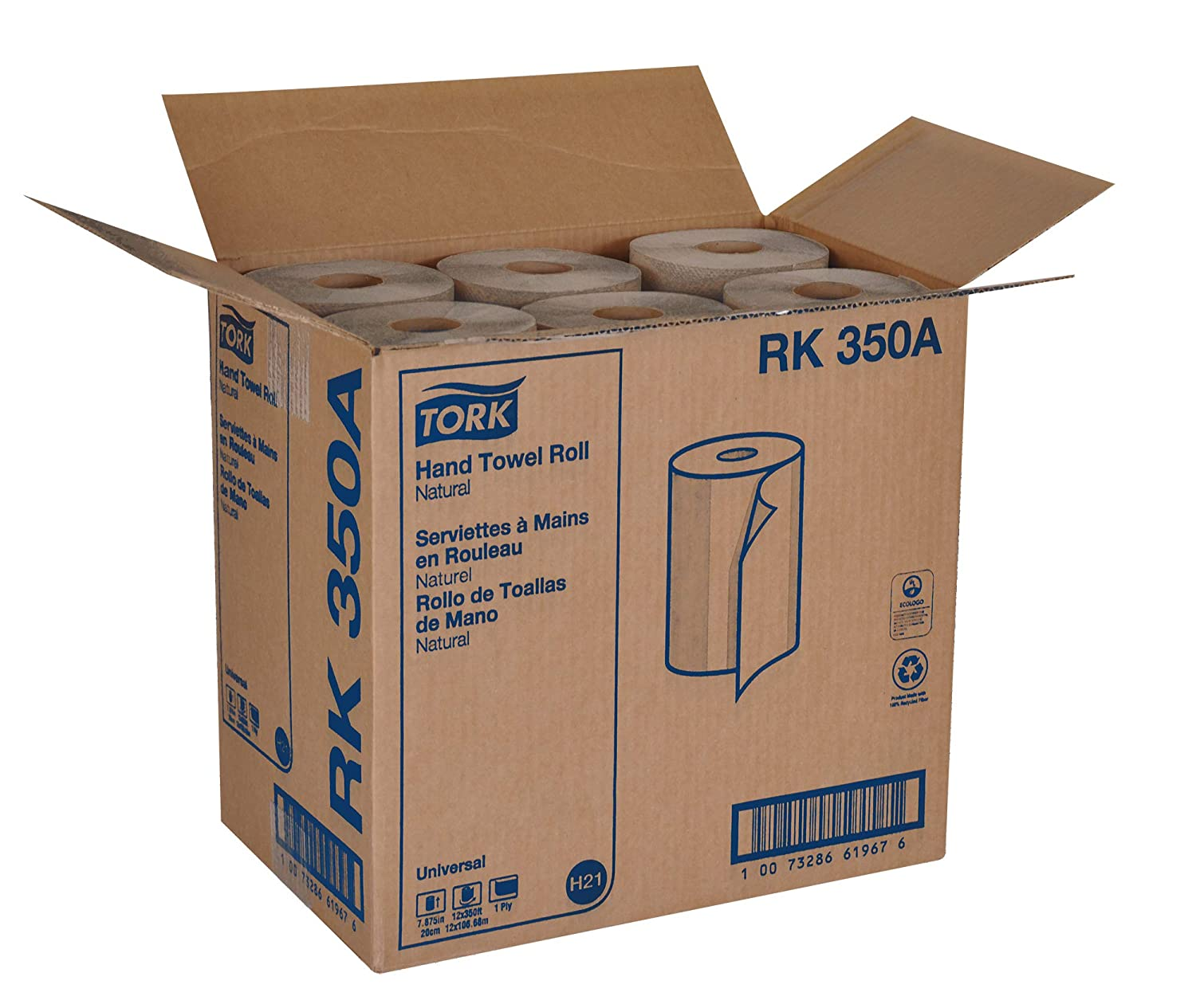 Tork Universal RK350A Hardwound Paper Roll Towel 7.87 in Width x 350 ft Length 1-Ply Natural Green Seal Certified