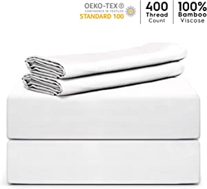 "Tafts Bamboo Sheets Queen Size - 100% Pure Organic Viscose Bamboo Sheet Set - 400TC Bamboo Bed Sheets - 4 Pieces - 17"" Deep Pocket - Silk Feel, Cooling, Anti-Static, Hypoallergenic (Cool White)"