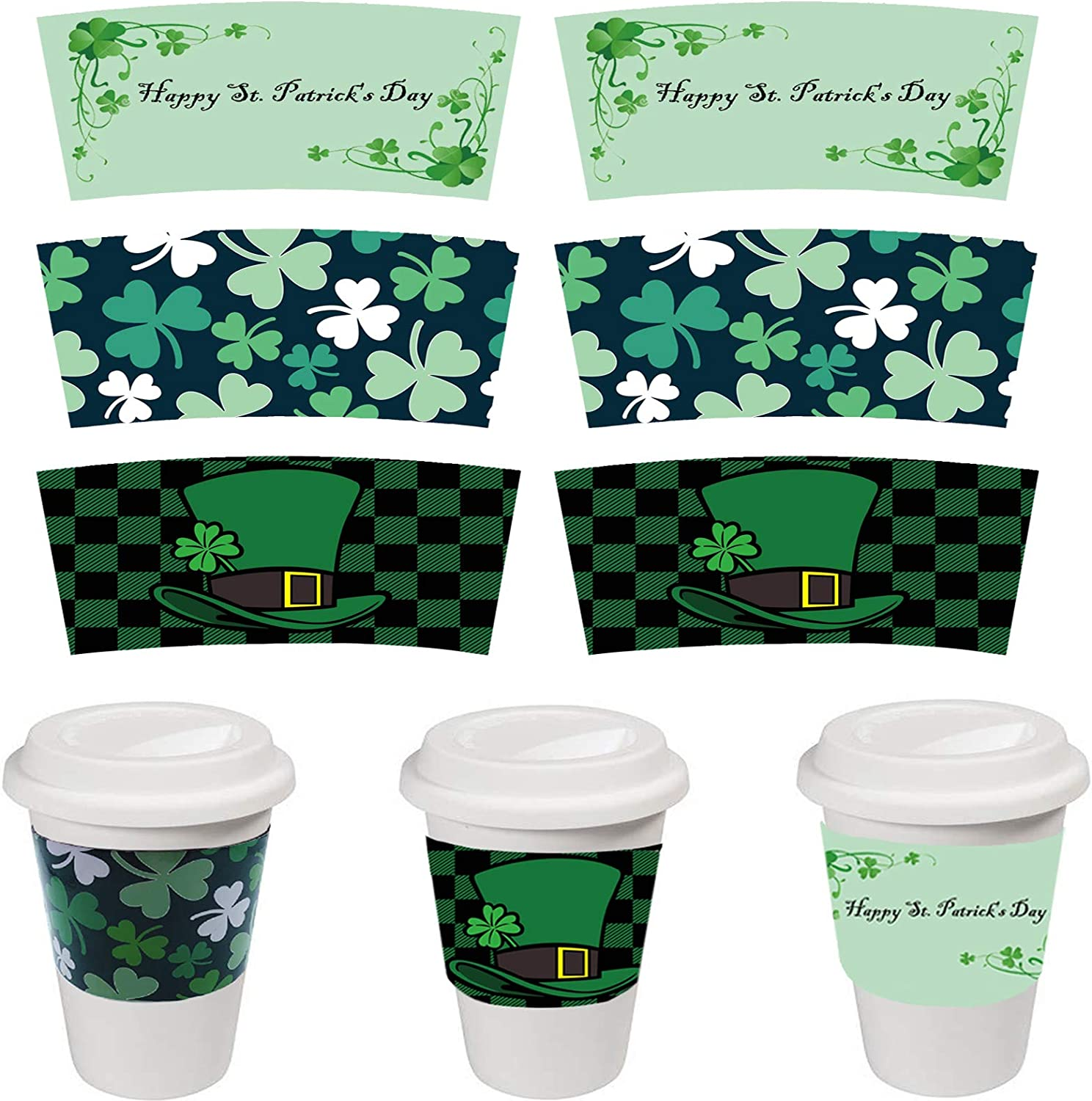 DSHE Holiday Coffee Cup Sleeve 30 Packs Green Tea Cup Sleeves 3 Different St. Patrick's Day Themes Paper Coffeecup Sleeves for Disposable Party Cups 12 and 16oz Cup Jacket