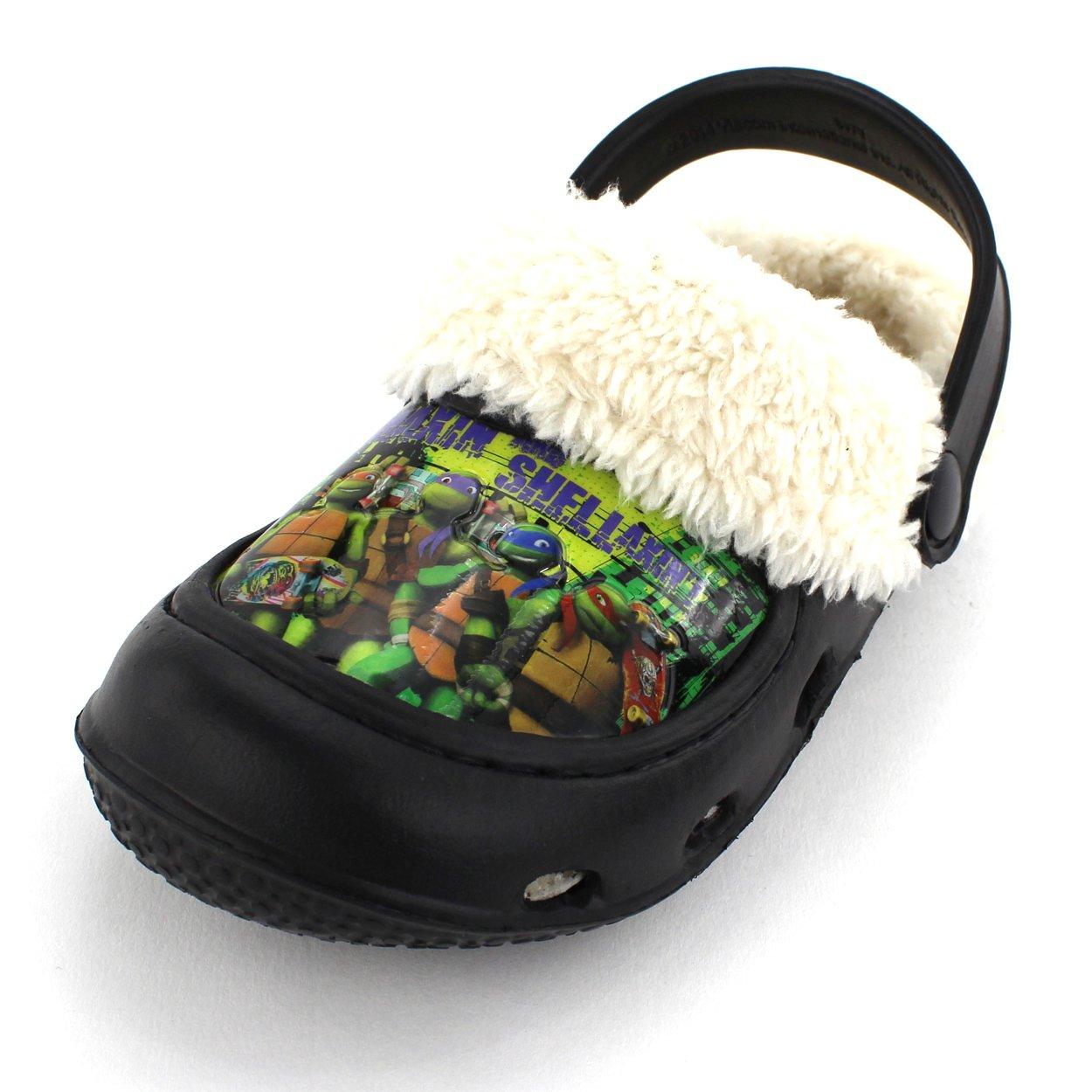 Nickelodeon TMNT Ninja Turtles Boys Black Fleece Lined Clogs (Toddler)