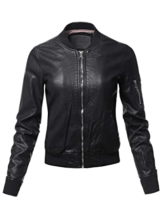 ce8ace9f0a262 Awesome21 Women's Long Sleeves Zipper Closure Motorcycle Biker Faux ...