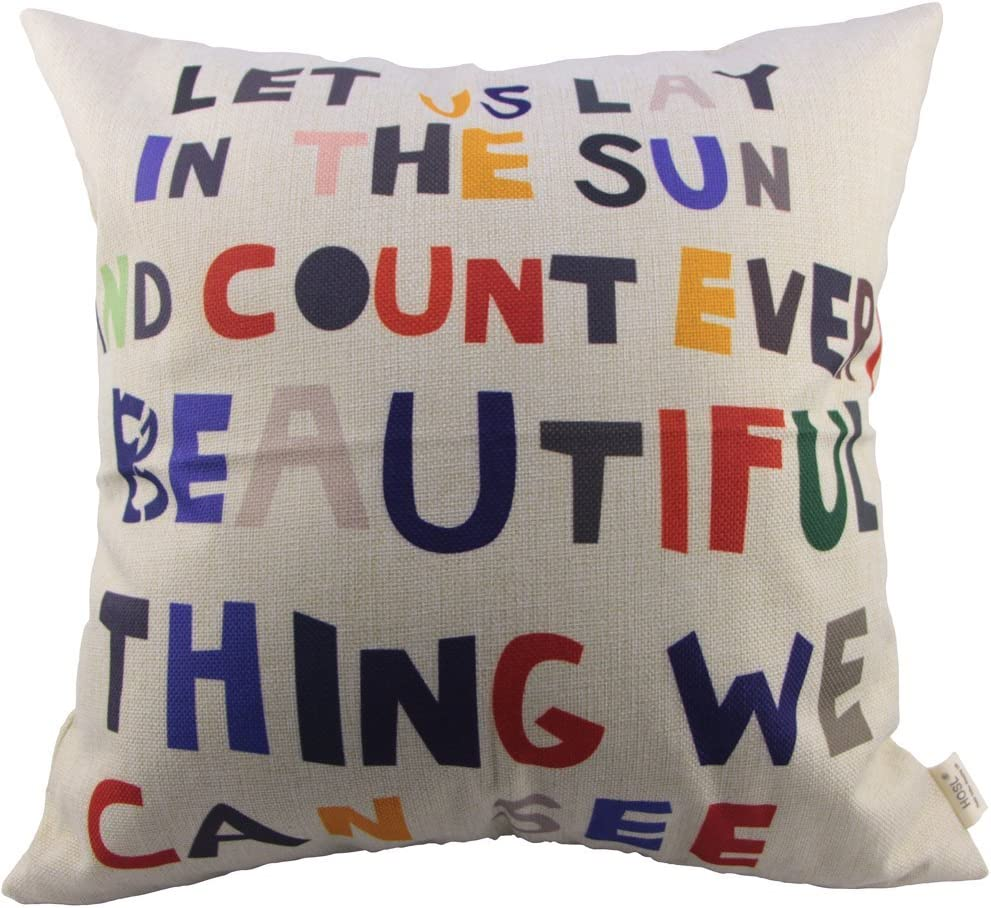 HOSL Meaningful Quotes Colorful Letters Throw Pillow Case Decor Cushion Covers Square 18*18 Inch