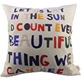 HOSL Meaningful Quotes Colorful Letters Throw Pillow Case Decor Cushion Covers Square 18*18 Inch Beige Cotton Blend Linen