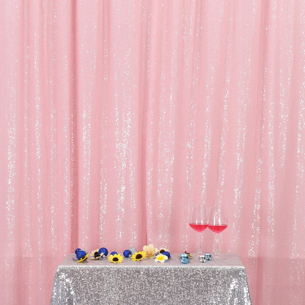 PartyDelight Sequin Backdrop Wedding Curtain Special Events, Party, Pink, 8FTx8FT