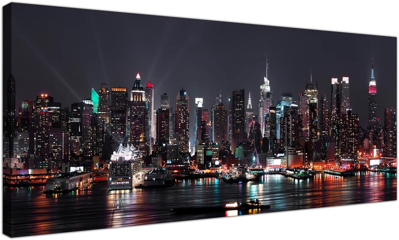 Wallfillers Canvas Prints Of The New York Skyline At Night For Your Office City Wall Art 1187 Amazon Co Uk Kitchen Home