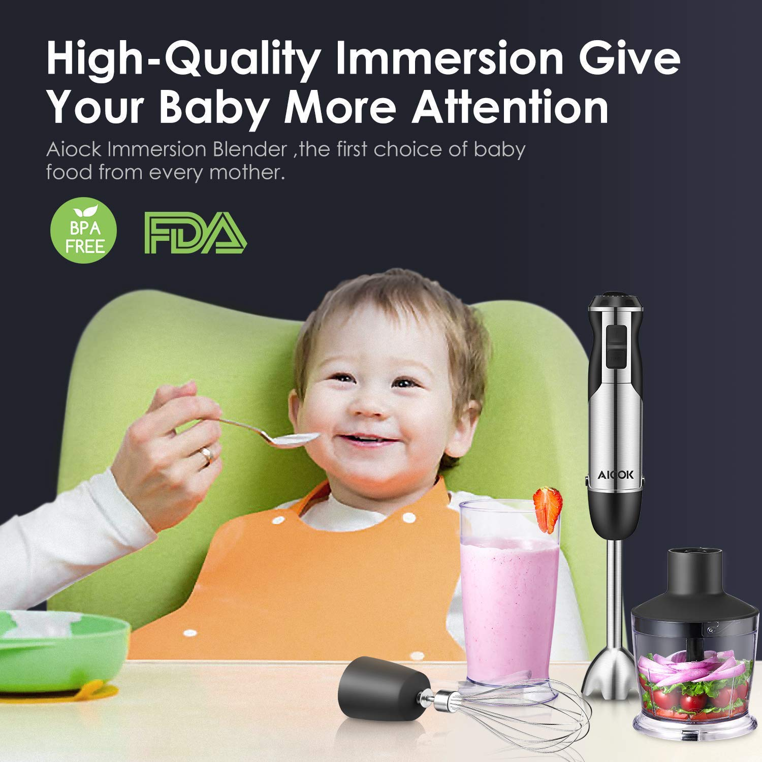 for Smoothies 600ml Stainless Steel Blades and BPA Free Containers Soups Baby Food Chopper 4 in 1 Stick Blender includes Beaker Egg Whisk Immersion Blender Aicok 12 Speeds Hand Blender