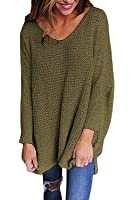 Chuanqi Women Oversized Knitted Sweater Long Sleeve V-Neck Loose Top Jumper Pullovers