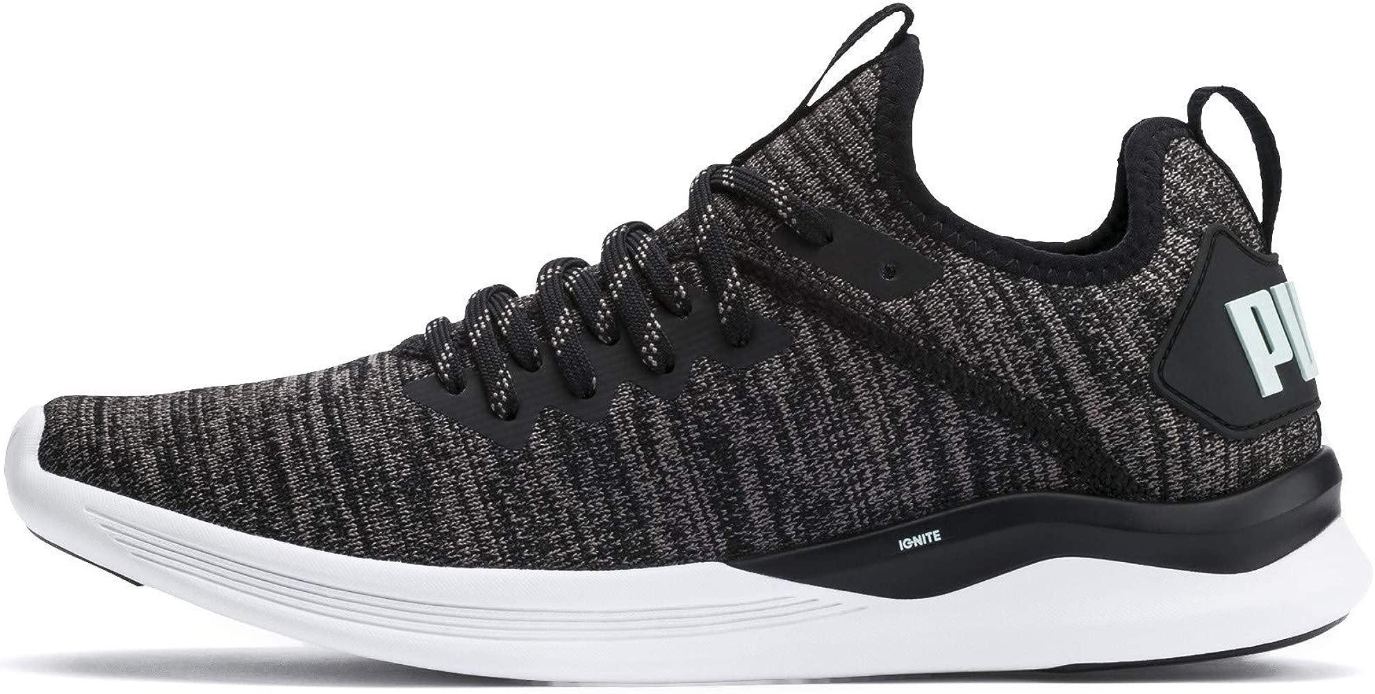 Puma Athletic Shoes Mens Ignite Flash evoKNIT Black Lightweight Training Sneaker