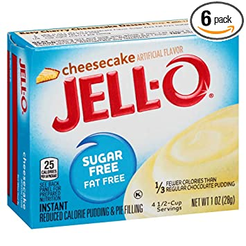 Jell O Sugar Free Cheesecake Instant Pudding Mix 1 Ounce Box Pack Of