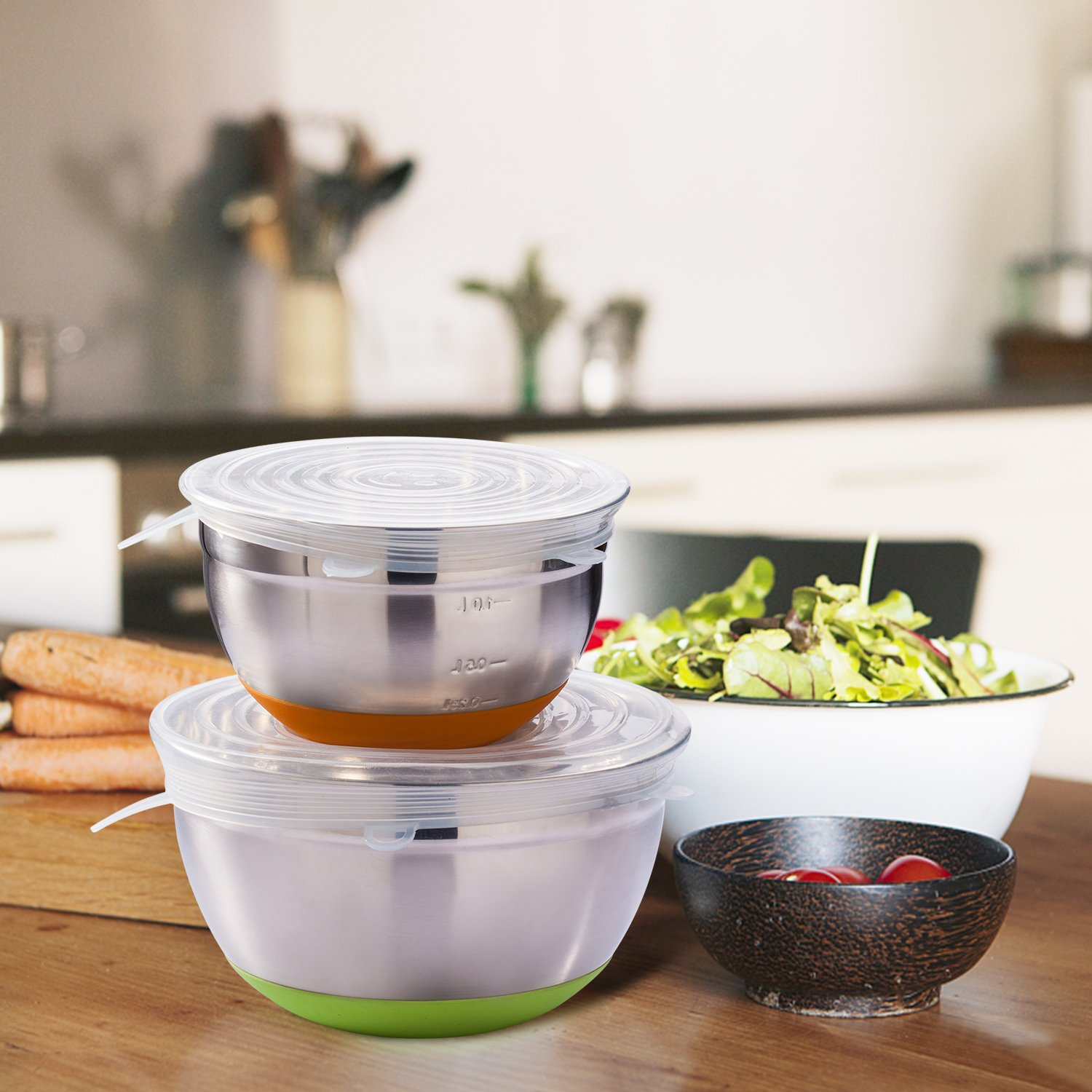 Silicone Stretch Lids, 6-Pack Various Sizes Cover for Bowl by i-Kawachi (Image #4)