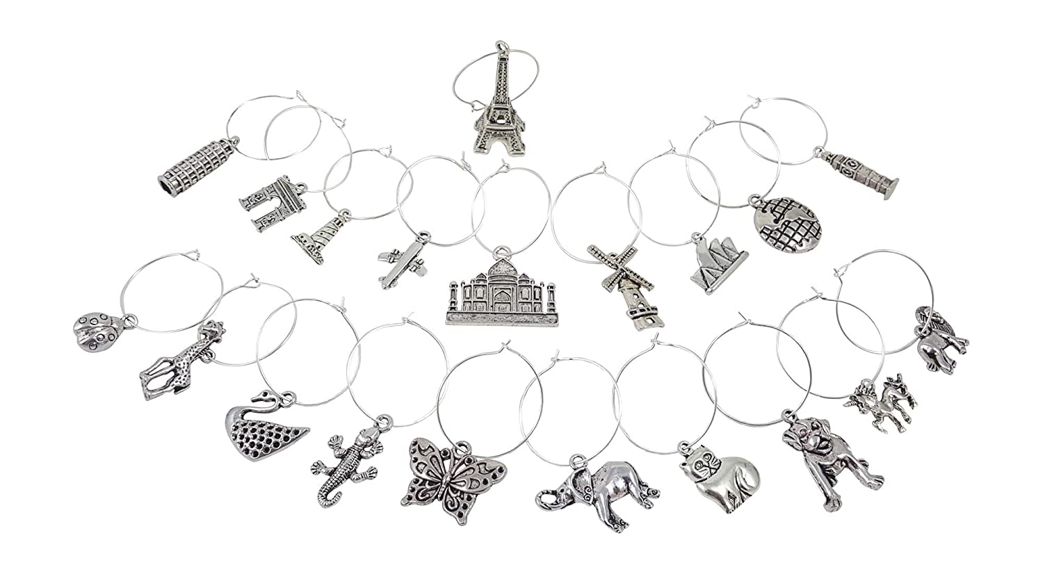 Travel /& Animal Themed Wine Charm Gift Set with 20 Beautiful Wine Charms