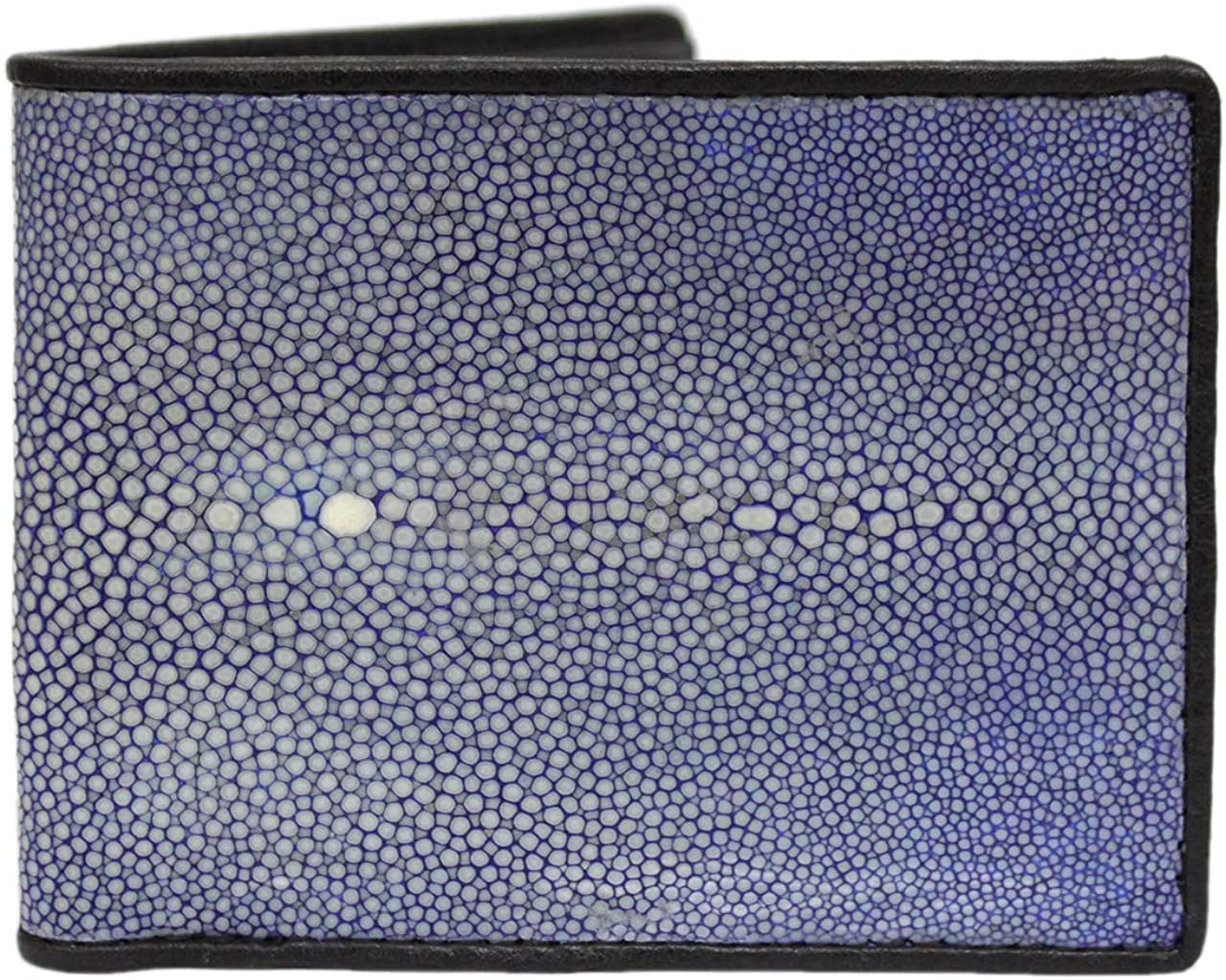 Polished Genuine Stingray Skin Leather Man Bifold Wallet Black
