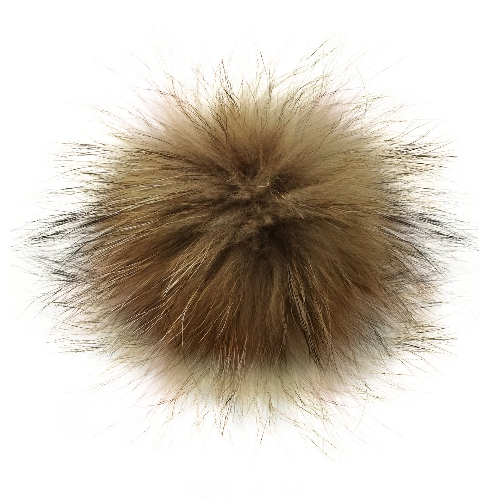 5 Real Raccoon Fur Pom Pom with Button for Knitted Fur Hat Beanie Hats (White) U&M2