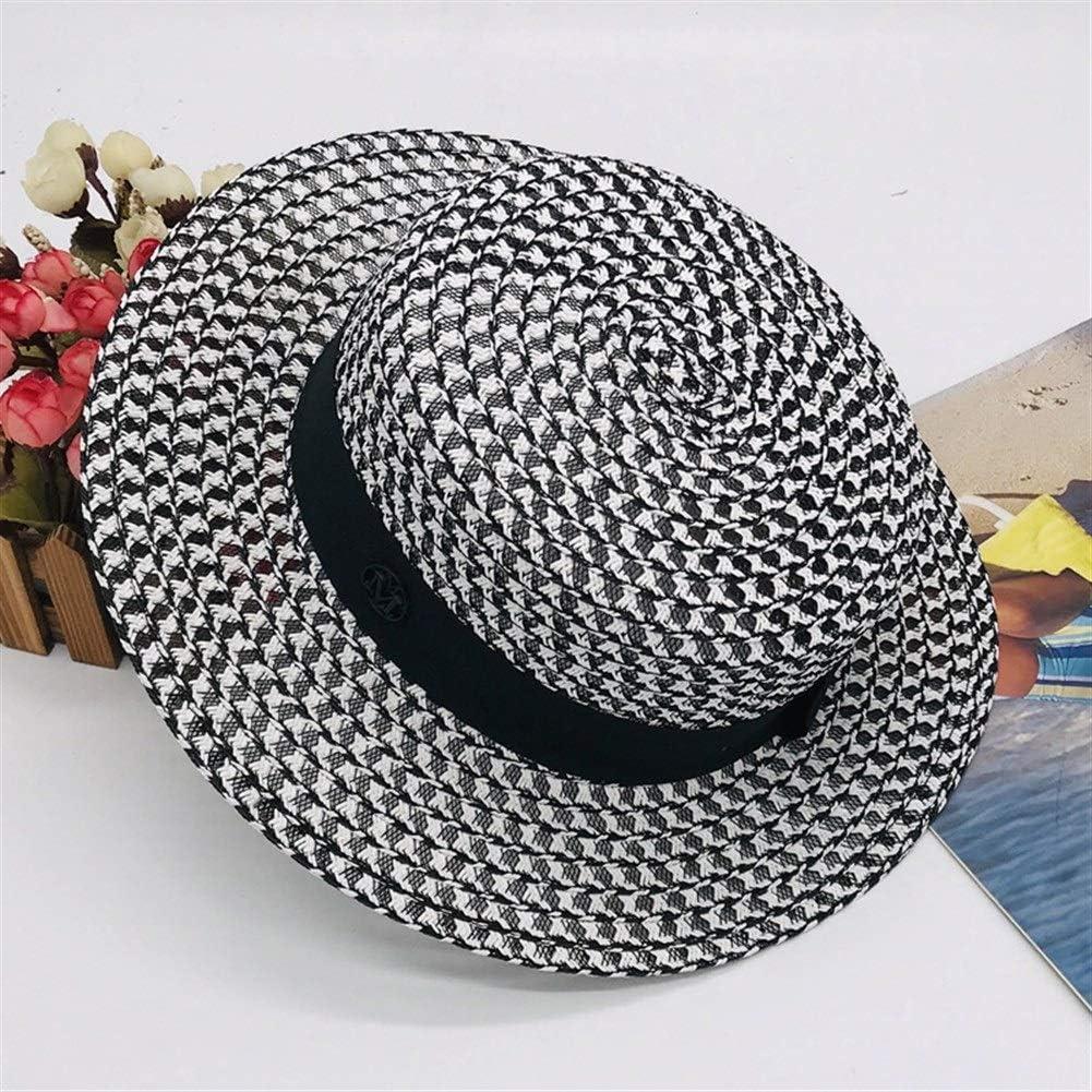 S*women's hat Sombra Sombrero Femenino de Primavera y Verano Sombrero de Paja Visera Pequeño Xiangfu Caballo de Gama Alta a Cuadros Blanco y Negro Suelto Sombrero Plano Elegante