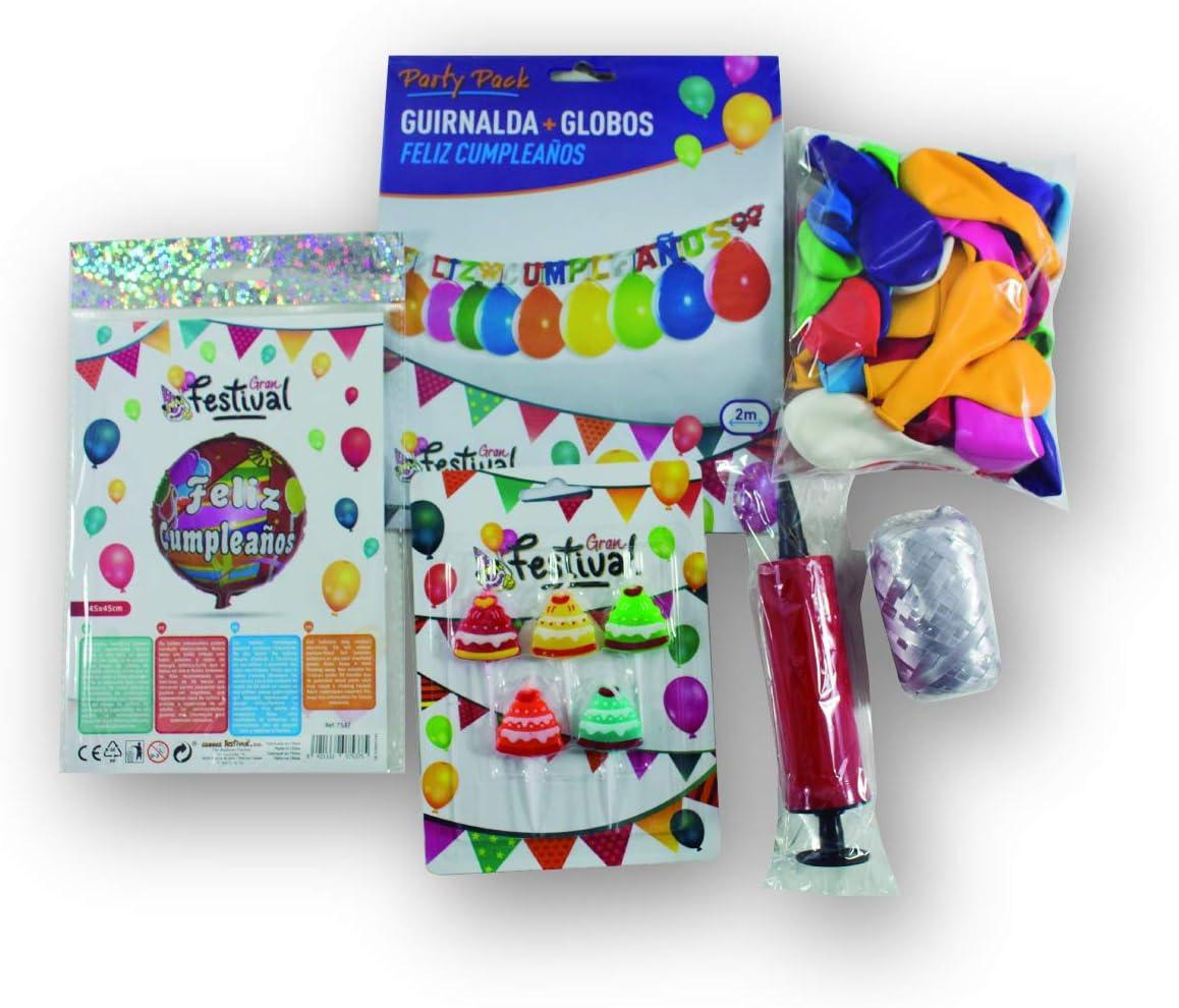 Globest- Pack cumpleaños, Color surtidos (Globos Festival 51001): Amazon.es: Juguetes y juegos