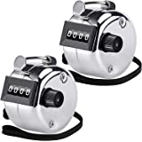 KTRIO Metal Budget Hand Tally Counter 4-Digit Tally Counters Mechanical Palm Counter Clicker Counter Handheld Pitch Click Counter Number Count for Row, People, Golf, Lap & Knitting, Silver