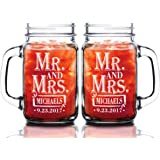 Custom-Engraved-Glasses-by-StockingFactory Mr Mrs 24oz Set of 2 Couples Custom Mason Jar Wedding Anniversary Personalized Groom Bride Gift Future Mr. Mrs. Glasses