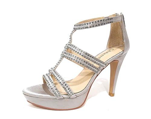 c59e083f2e82 Cafènoir LT023 sandali donna argento eleganti con strass cinturini tacco e  plateau n° 40  Amazon.it  Scarpe e borse