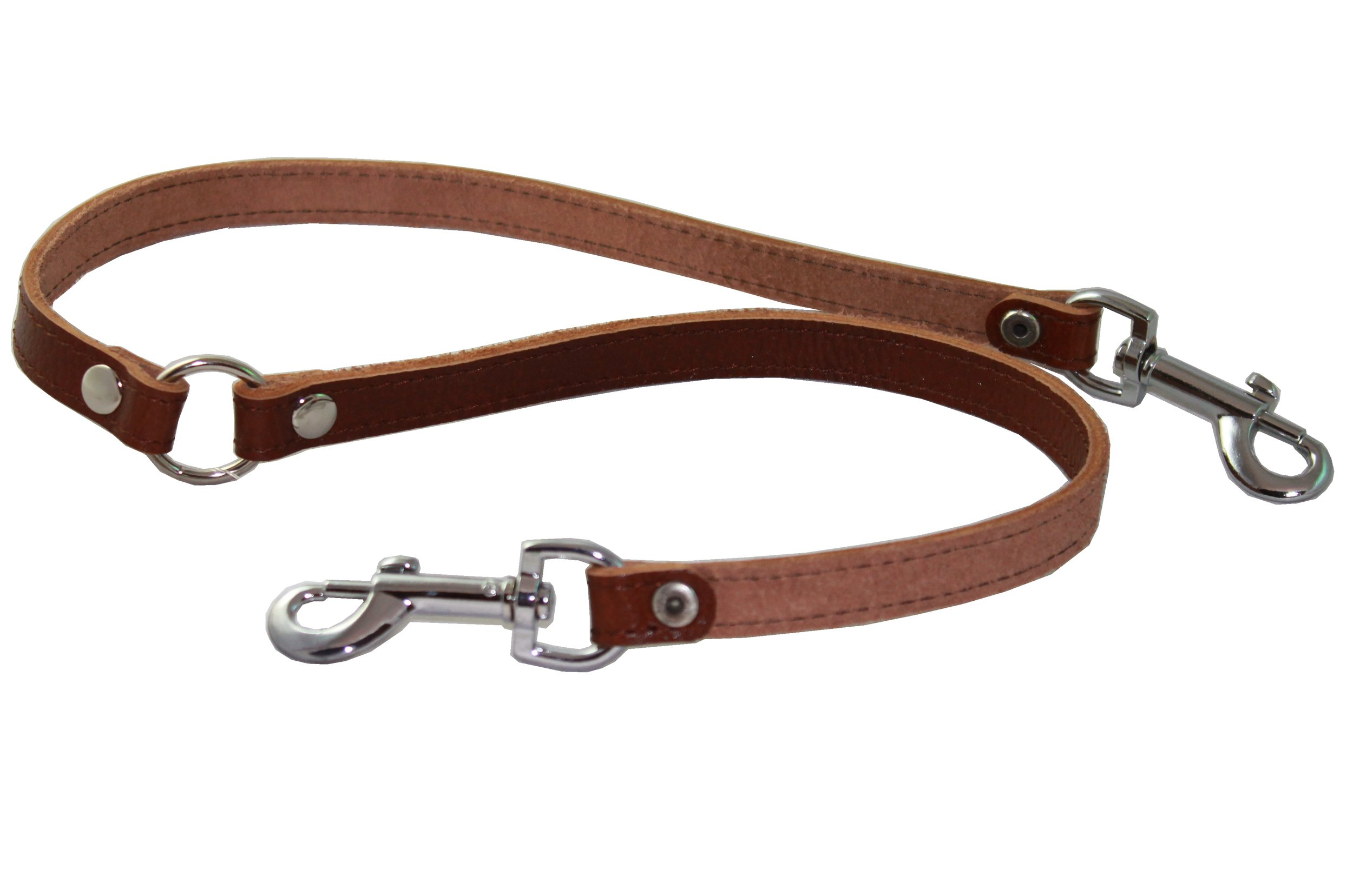 Genuine Leather Double Dog Leash - Two Dog Coupler (Brown, Small: 15'' Long by 1/2'' Wide)