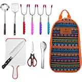 10-Piece Camping Kitchen Utensils Set| CHANODUG Camping Cookware Utensils For Travel Kitchen,Camping Kitchen Set with Hot dog marshmellow forks