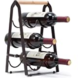 KINGRACK Countertop Wine Rack, Tabletop Wood Wine Holder for 6 Bottle Wine, 3-Tier Classic Design, Perfect for Home…