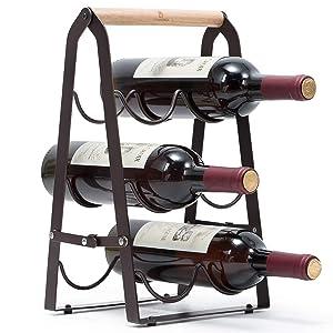KINGRACK Countertop Wine Rack, Tabletop Wood Wine Holder for 6 Bottle Wine, 3-Tier Classic Design, Perfect for Home Decor, Bar, Wine Cellar, Basement, Cabinet, Pantry-Set of 1, Wood & Metal(Copper)