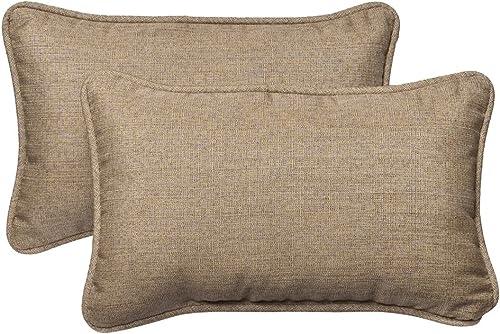 Pillow Perfect Outdoor Indoor Linen Sesame Lumbar Pillows, 11.5 x 18.5 , Tan, 2 Pack