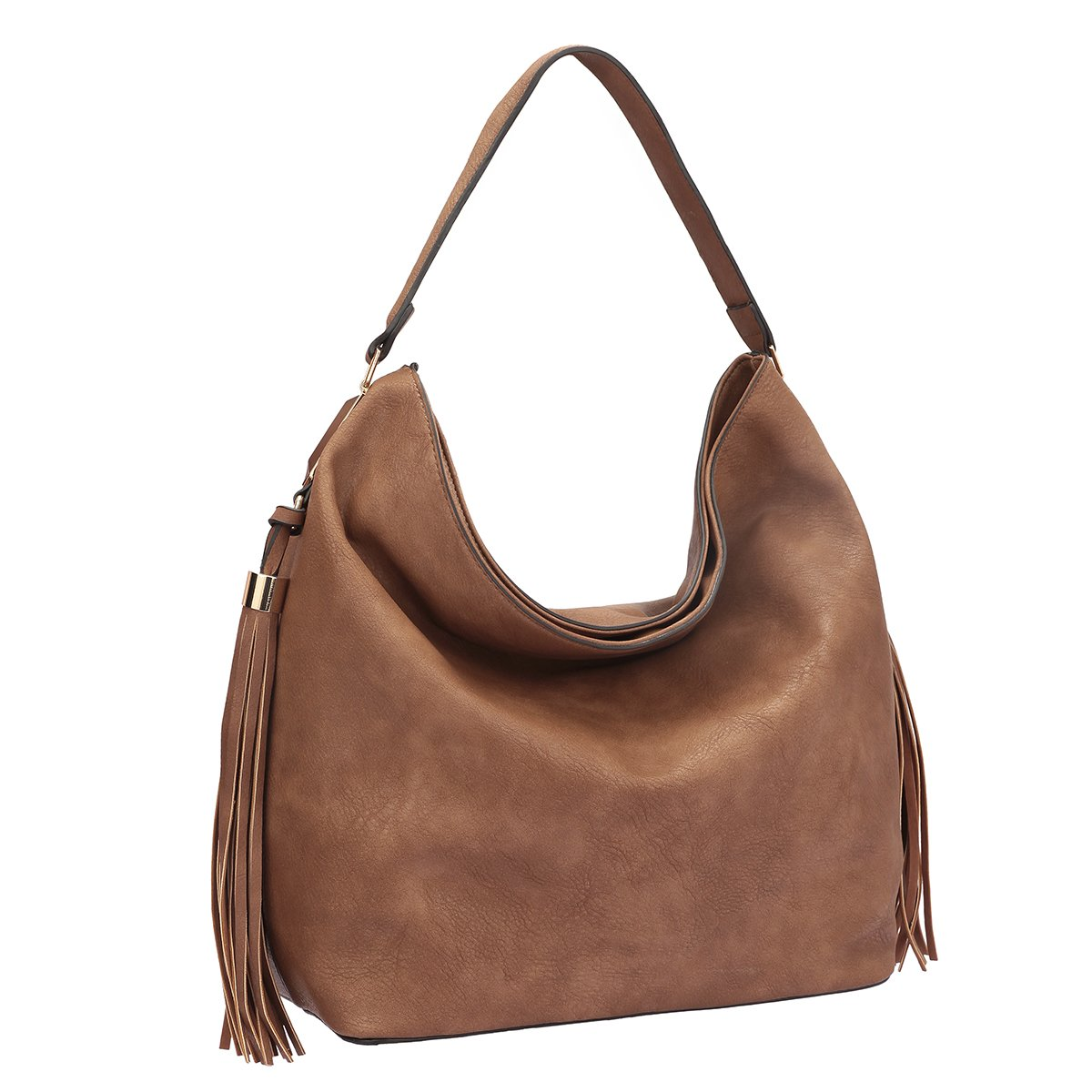 MKP Collection Fringe Studded Faux Leather Hobo Bag~Designer Satchel~Fashion Tote~Beautiful woman handbag (7006) Brown