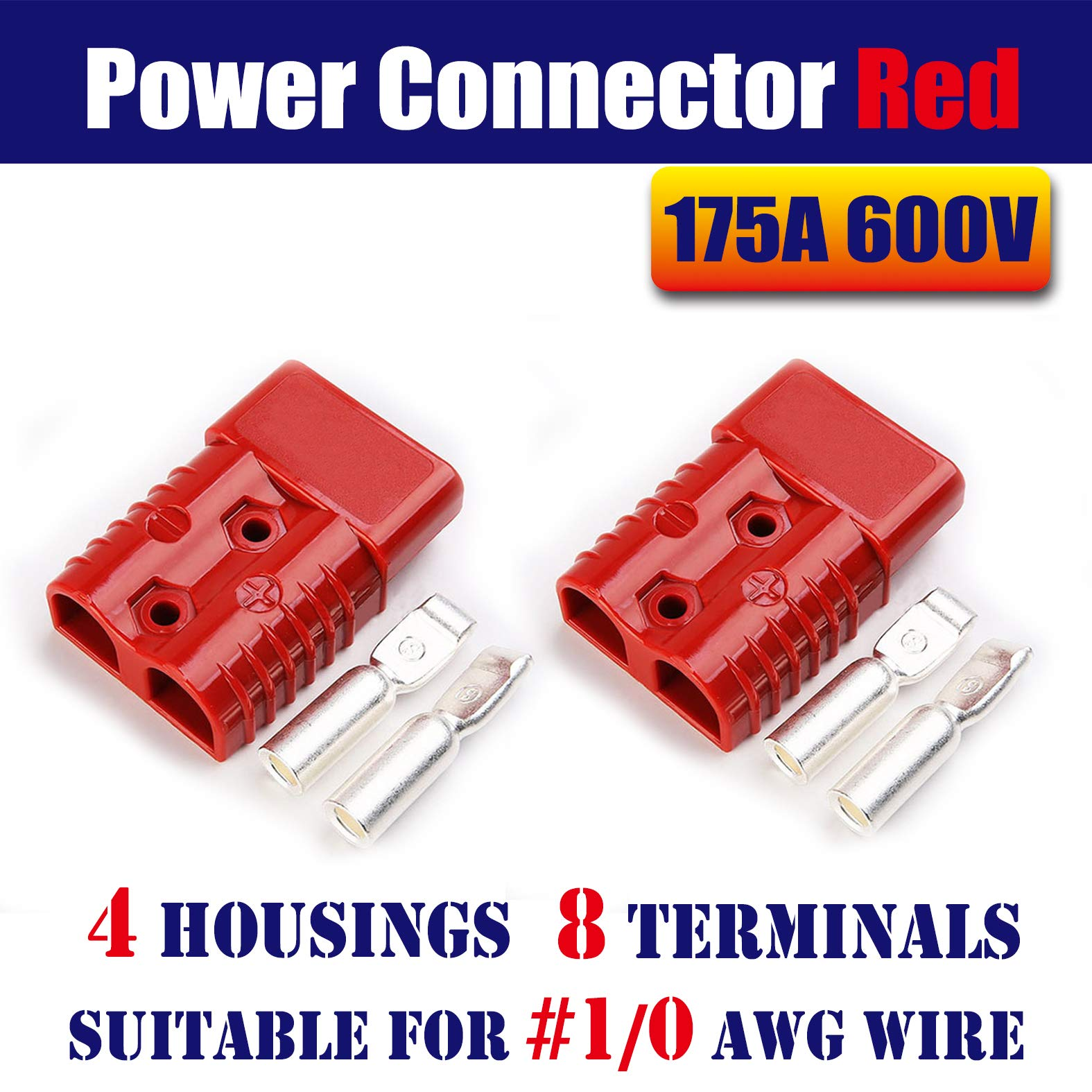 Mr.Brighton LED 175Amp Anderson Compatible 2 Pole Power Connector Plug Red w/Terminals for #1/0 AWG Wire[4 housing+8 Terminal pins] by Mr.Brighton LED