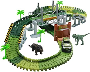 Lydaz Race Track Dinosaur World Bridge Car Toy & Flexible Track Playset