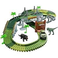 TONZE Circuit Enfant Jeux Circuit Voiture Jouet avec Dinosaure Accessoires Pour Enfant Garcon Fille 3 4 5 6 Ans